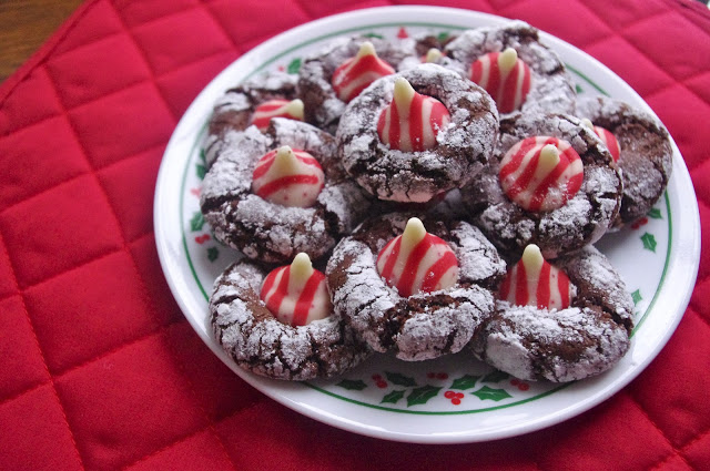 Chocolate Crinkle Candy Cane Kiss Cookies
