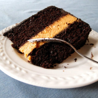 Chocolate Pumpkin Cheesecake Cake with Cinnamon Chocolate Frosting
