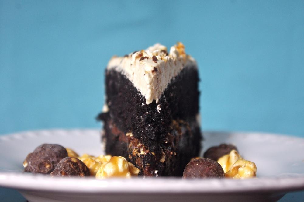Chocolate Caramel Crunch Poke Cake