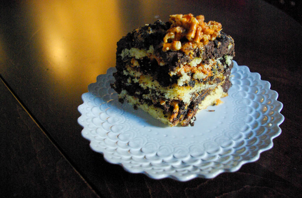 Chip Cake with Pretzel Crunch, Chocolate Crumb, and Caramel Sauce ...