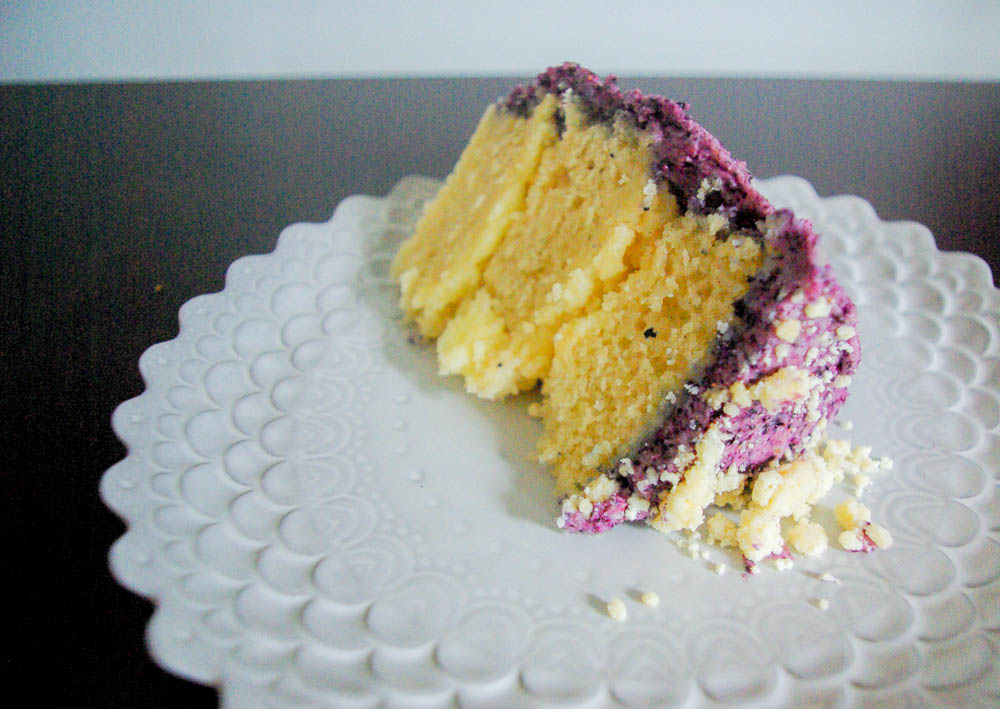 Blueberry, Lemon, and Vanilla Layer Cake   This cake is a light treat, using some Momofuku Milk Bar recipes and some basic ones, the flavors combine together perfectly.
