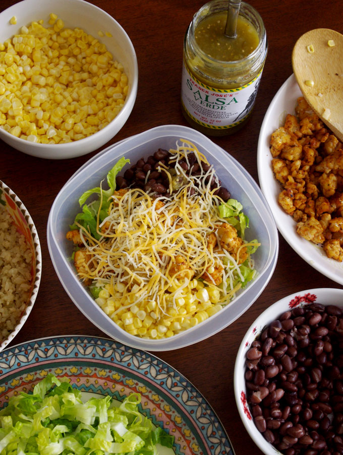 Tempeh Cauliflower Rice Burrito Bowls | these plant-based vegetarian burrito bowls are easy to make, full of flavor, and gluten-free! they're a great healthy lunch to bring to work or school | www.thebatterthickens.com