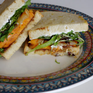 Harvest Sweet Potato Sandwich with Apple Butter and Goat Cheese | www.thebatterthickens.com | @thebatterthickens