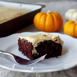 Chocolate Pumpkin Caramel Poke Cake - made with box chocolate cake, this #pumpkin #caramel poke cake is so easy to make but tastes completely homemade, and will delight family and guests throughout the holiday season!   www.thebatterthickens.com