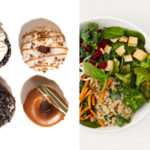 donuts and salad spit down the middle, what it's like to cut out added sugar